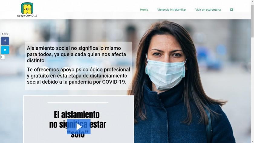 Captura de pantalla del sitio Apoyo COVID-19