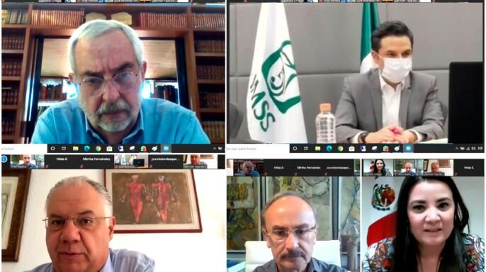 Videconferencia con funcionarios de la UNAM y el IMSS
