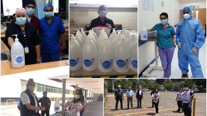 Mosaico de imágenes de entrega de y uso de gel en Cruz Roja