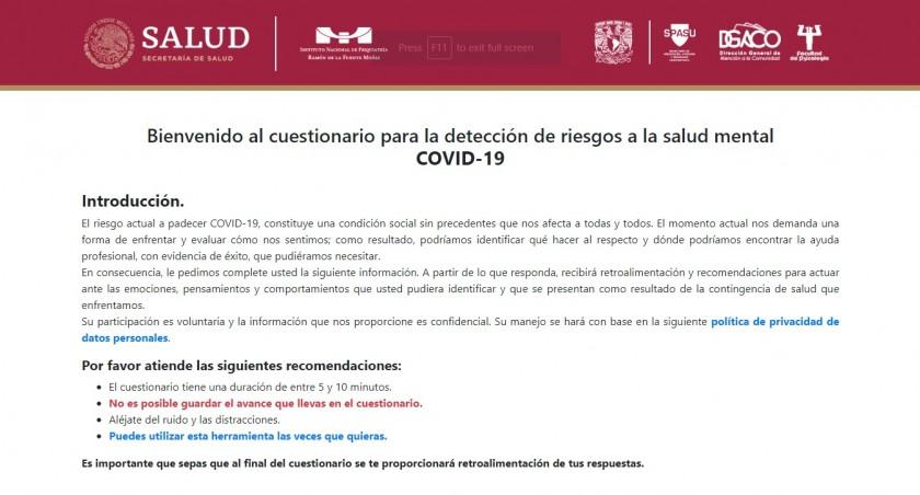 Captura de pantalla del sitio cuestionario para la detección de riesgos a la salud mental COVID-19