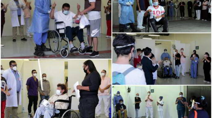 Mosaico de pacientes que egresan de la Unidad Móvil Temporal COVID Autódromo Hermanos Rodríguez