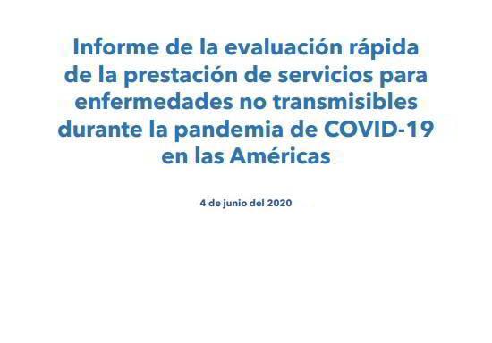 En este informe se presenta un panorama general del impacto que la pandemia de COVID-19 ha tenido en los servicios contra las ENT en la Región de las Américas, con datos obtenidos a lo largo de cuatro semanas en mayo del 2020, en un momento en el que se consideraba que la Región de las Américas era el epicentro de la pandemia mundial de COVID-19.