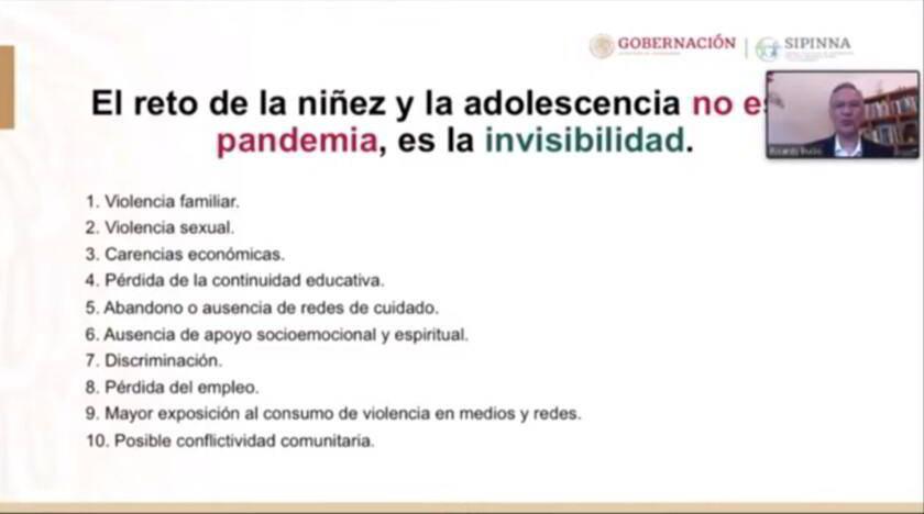 Ricardo Bucio y diapositiva el reto de la niñez y la adolescencia no es la pandemia, es la invisibiliadad