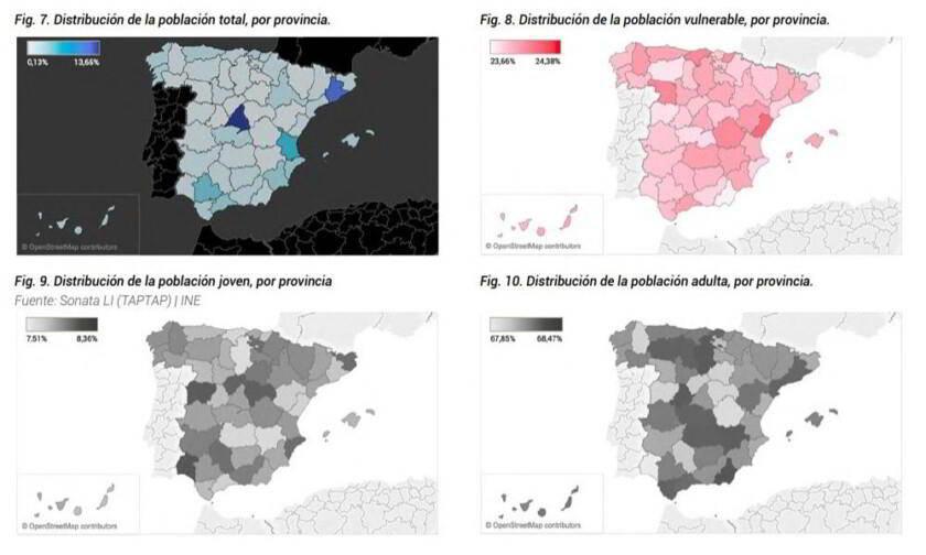 Mapas de distribución de la población por provincias en España