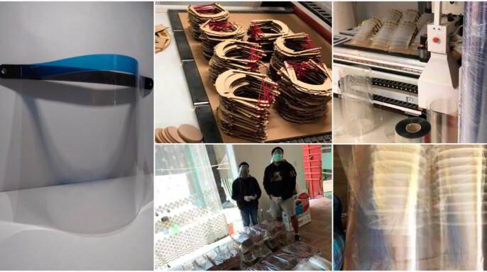 Mosacio de imagenes de fabricación de las caretas