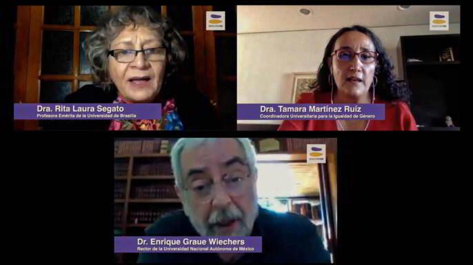 """Rita Laura Segato, profesora emérita de la Universidad de Brasilia en la primera sesión del seminario """"Políticas Universitarias para la Igualdad de Género"""""""