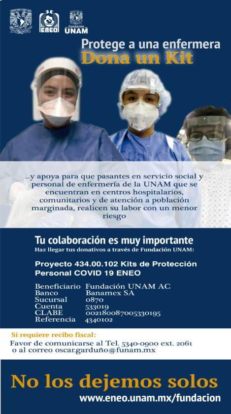 """Cartel de campaña """"Protege a un pasante de enfermería y personal de enfermería de la UNAM: dona un kit"""""""