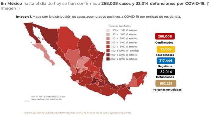 Mapa con la distribución de casos acumulados positivos a COVID-19 por entidad de residencia