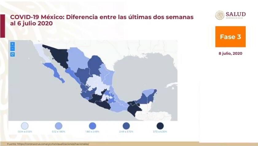 Mapa de la república mexicana con datos de movilidad