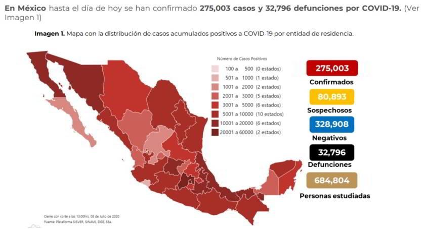 Mapa con la distribución de casos
