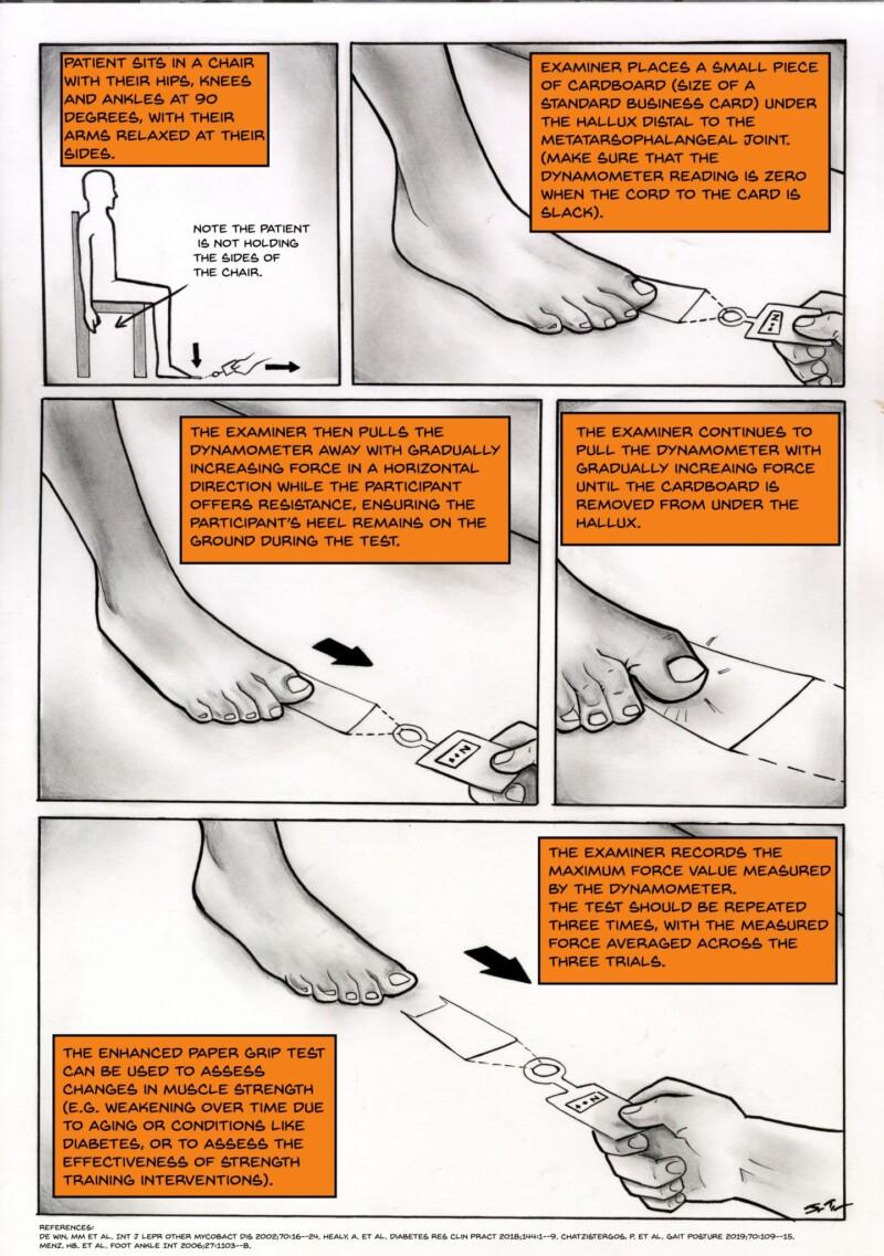 Ilustración de los pasos de la prueba clínica