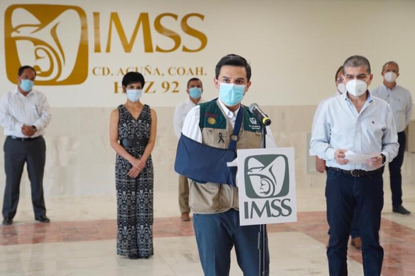Presentación del IMSS y Gobierno de Coahuila para poner en marcha área COVID del  Hospital General de Zona No. 92 en Ciudad Acuña