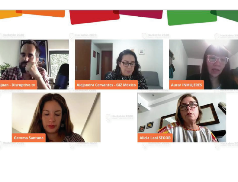 """videoconfereencia 10 iniciativas ganadoras del """"Hackatón 2020: mujeres y niñas post COVID-19"""""""