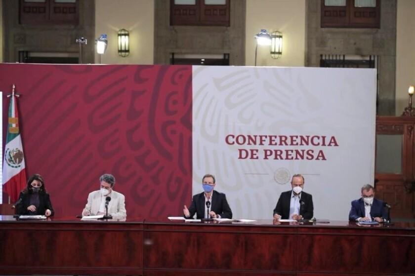 Sexta conferencia de prensa por la Educación, realizada en el salón de la Tesorería de Palacio Nacional