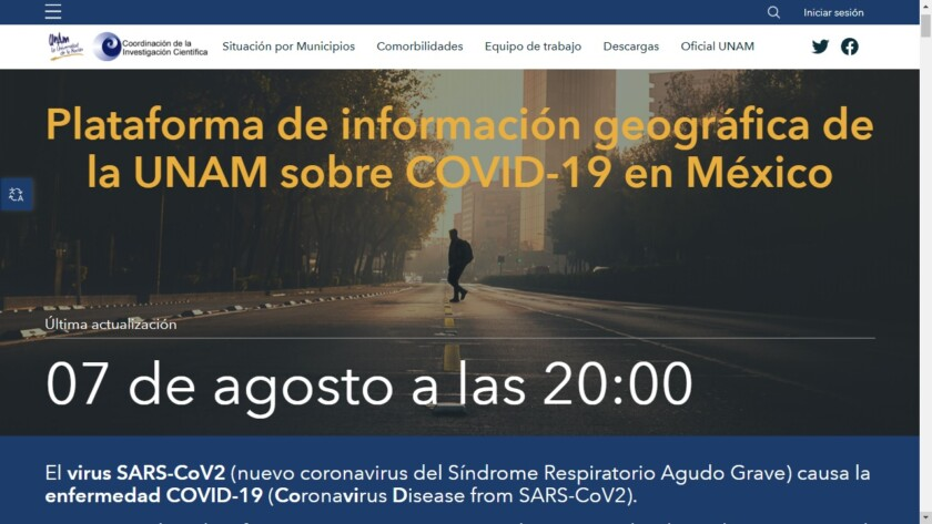 Plataforma de información geográfica de la UNAM sobre COVID-19 en México