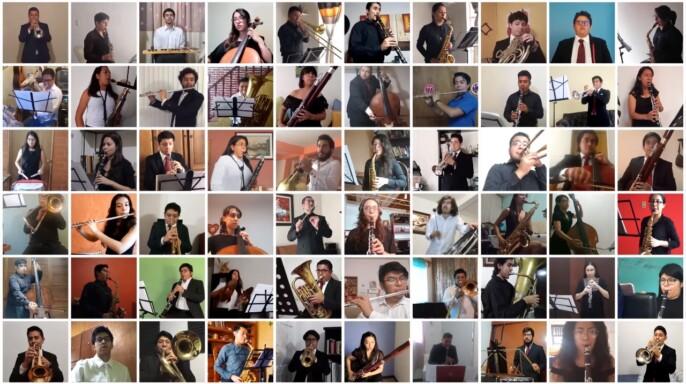 Mosaico de integrantes de la Banda Sinfónica FaM UNAM