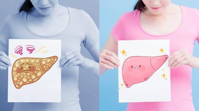 Mujer sosteniendo ilustraciones de higado uno graso otro sano