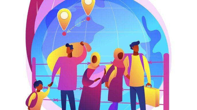 Migración comunitaria concepto abstracto