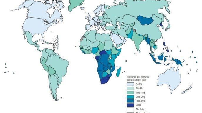 Mapa de Tasas estimadas de incidencia de tuberculosis, 2019