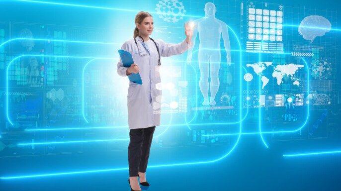 Doctora en telemedicina concepto futurista