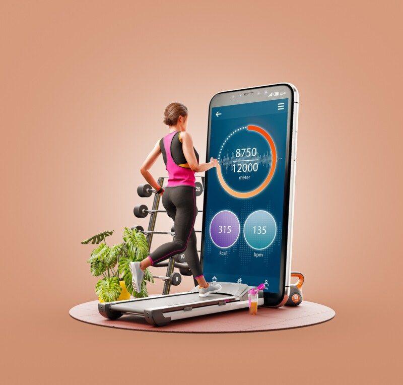 mujer ejercitándose con aplicación de teléfono inteligente