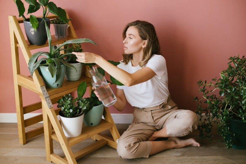 Mujer joven cuidando de las plantas y las flores del hogar