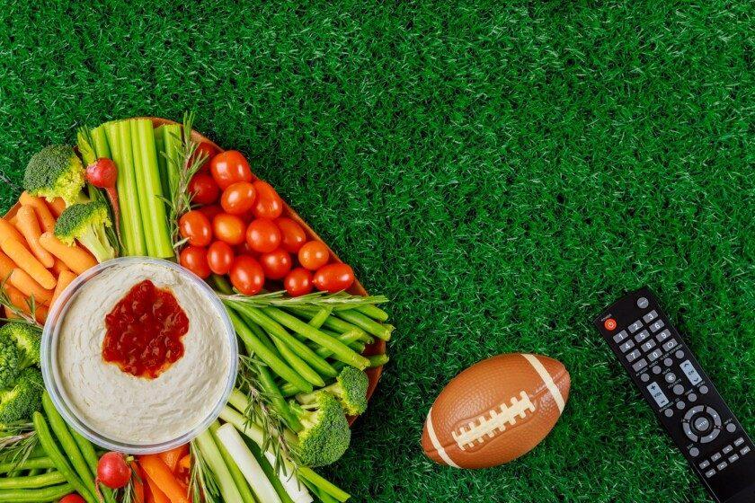 Deliciosa comida para el partido de fútbol americano