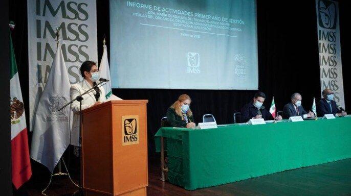 doctora María Guadalupe del Rosario Garrido Rojano rindió su Primer Informe de Actividades como titular del IMSS en San Luis Potosí.