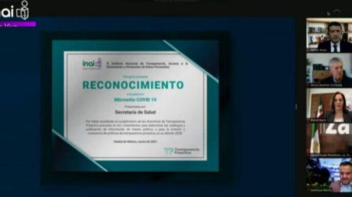 Secretaría de Salud recibe reconocimiento del INAI por transparencia proactiva a través de coronavirus.gob.mx