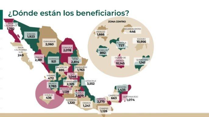 Estados beneficiarios del plan de apoyo a deudos de fallecidos por COVID-19 del gobierno federal.