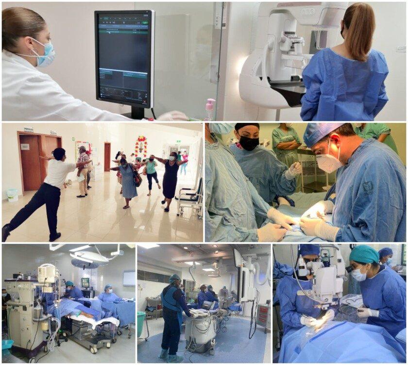 Mosaico de cirugía y medicina de alta especialidad y servicios