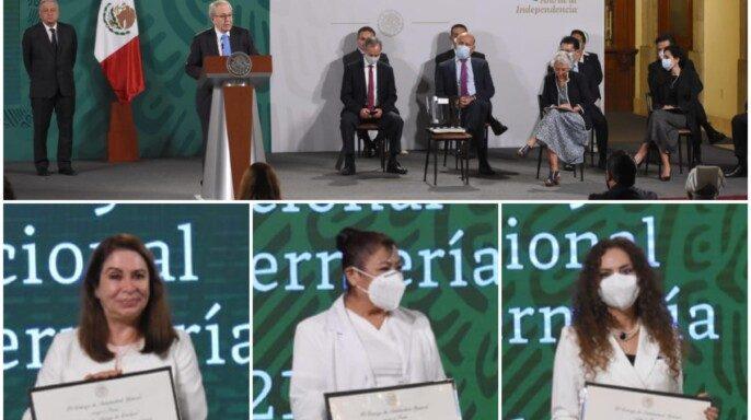 Se entregaron reconocimientos a quienes han realizado aportaciones a favor de la salud, la consolidación de instituciones y la enseñanza