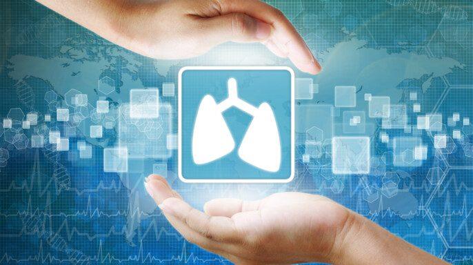 Manos protegiendo icono de pulmón
