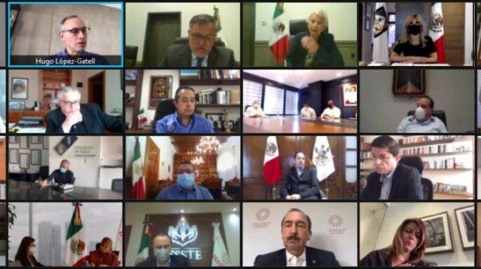 reunión virtual entre representantes del gobierno federal y mandatarios estatales convocada por la Secretaría de Gobernación