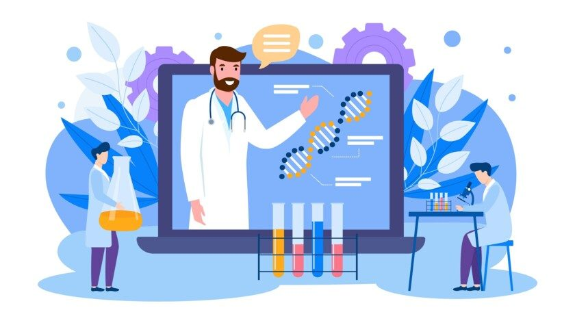 Ilustración de educación científica en línea