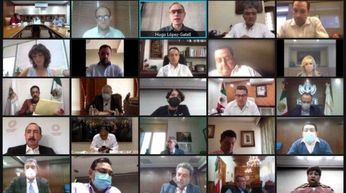 reunión virtual con titulares de gobiernos estatales, organizada por la Secretaría de Gobernación