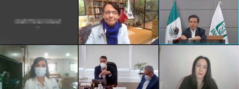 reunión virtual de trabajo con la directora general del Conacyt, María Elena Álvarez-Buylla Roces, el director general del IMSS, Zoé Robledo