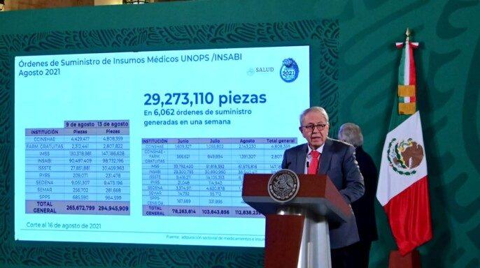 secretario de Salud, Jorge Alcocer Varela informando del Compendio de Medicamentos e Insumos