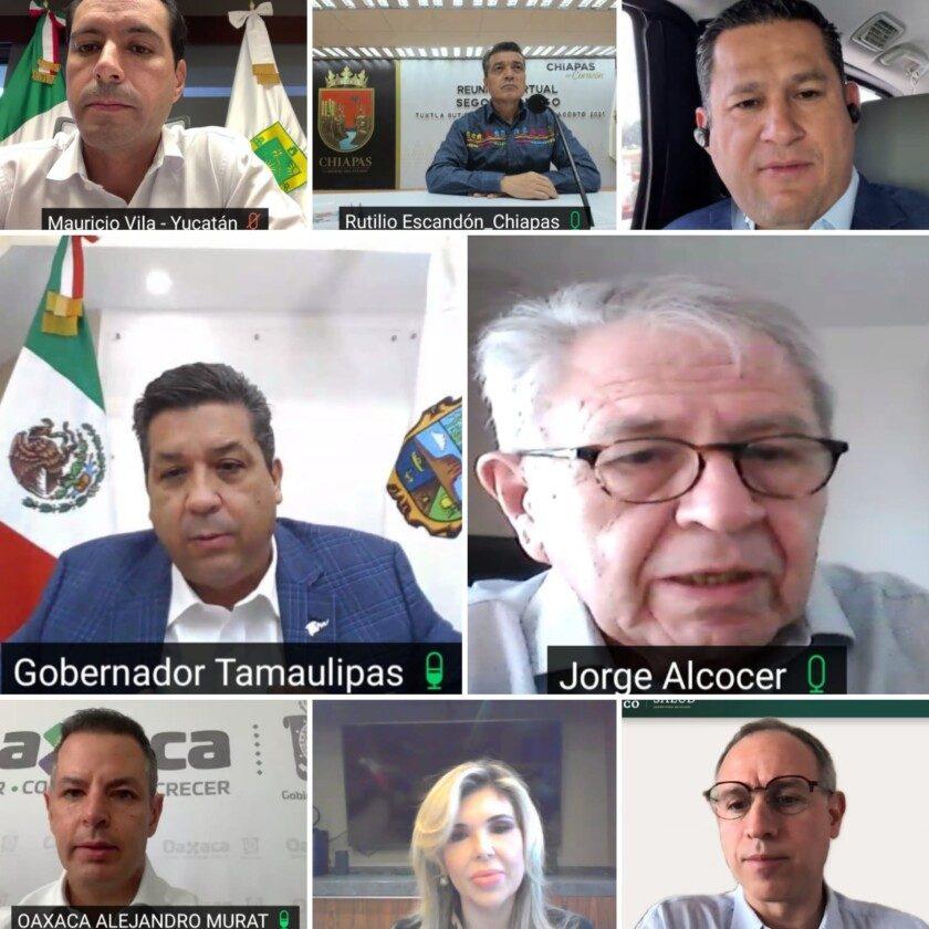 reunión virtual con gobernadores y autoridades estatales